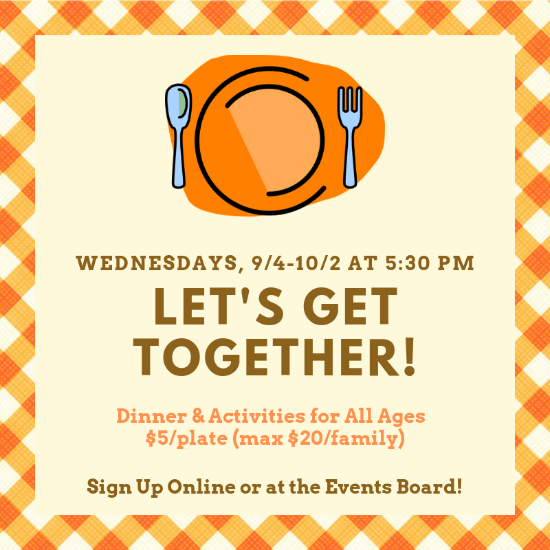 "Sign Up for Our Fall 2019 ""Let's Get Together"" Fun Nights!"